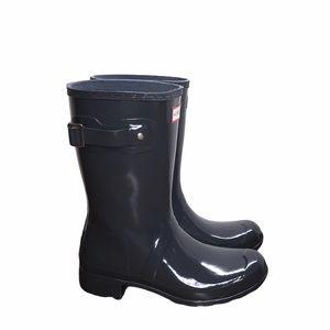 Hunter Original Short Gloss Rain Boots Black 8